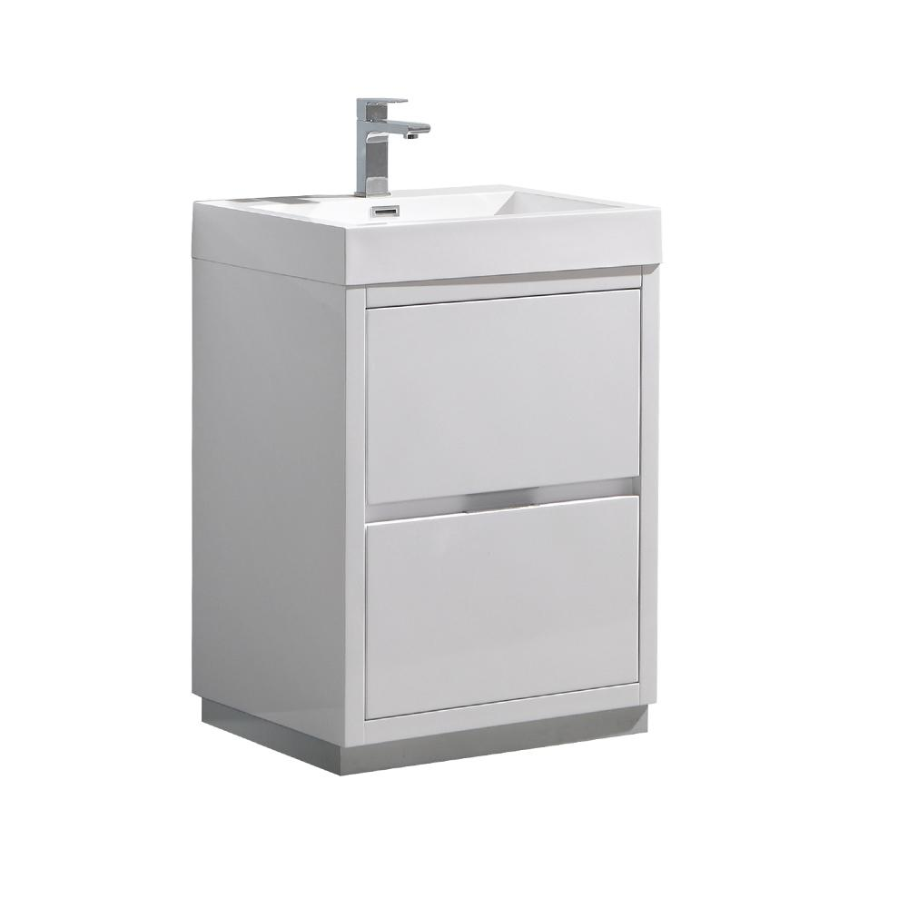 Valencia 24 in. W Bathroom Vanity in Glossy White with Acrylic