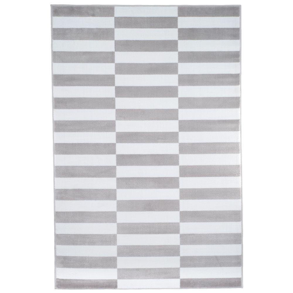 Checkered Stripes Grey 8 Ft X 10 Area Rug