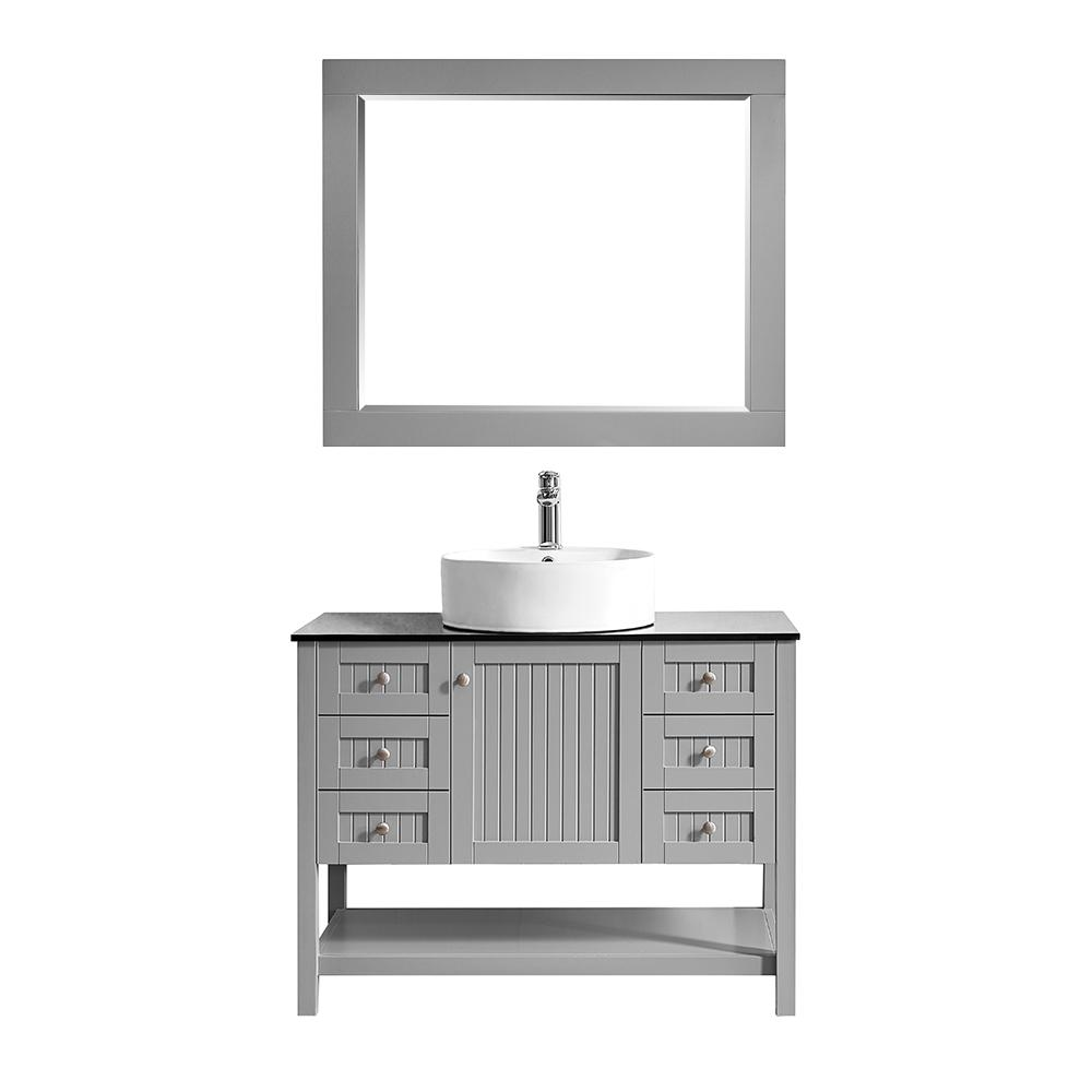 ROSWELL Modena 42 in. W x 20 in. D Vanity in Grey with Glass Vanity Top in Black with White Basin and Mirror