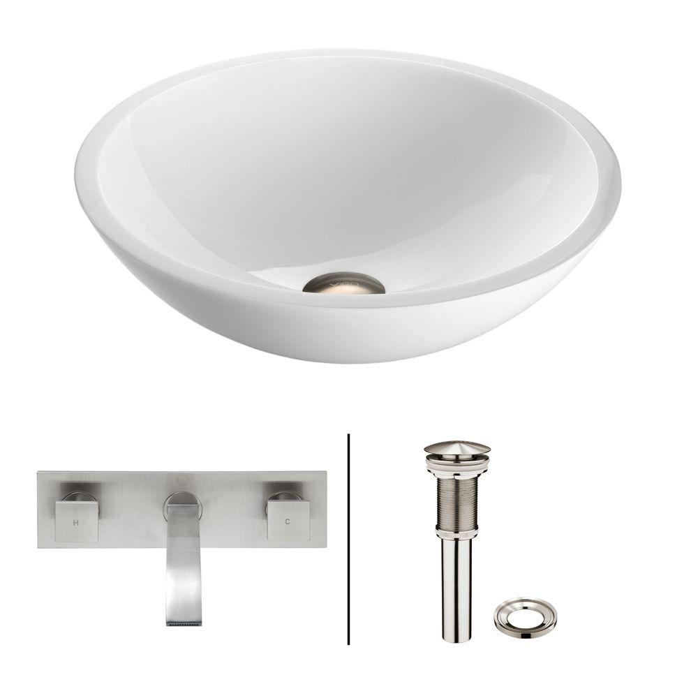 Flat Edged Stone Glass Vessel Sink in White Phoenix with Wall-Mount