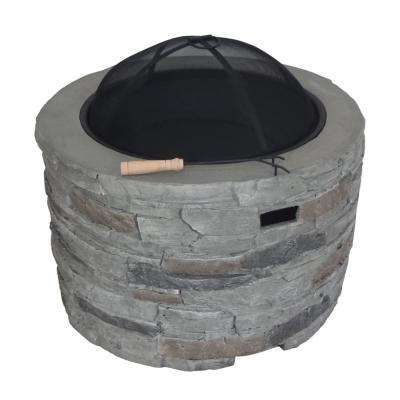 Valeria 31.5 in. x 20 in. Round Concrete Wood Burning Fire Pit in Grey