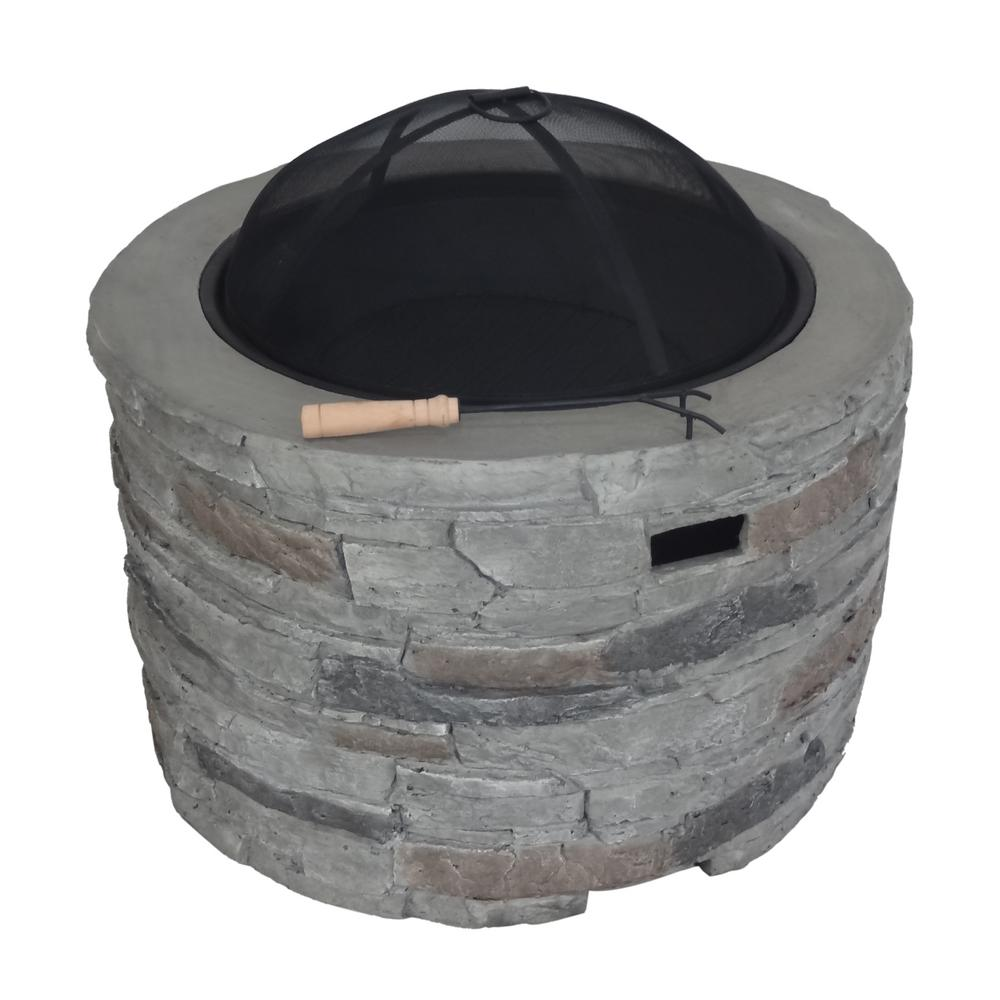 Noble House Valeria 31.5 in. x 20 in. Round Concrete Wood Burning Fire Pit in Grey
