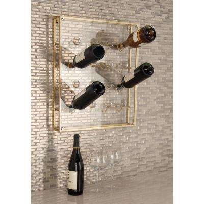 19 in. x 3 in. x 22 in. Gold-Finished Iron and Acrylic 16-Bottle Wine Holder