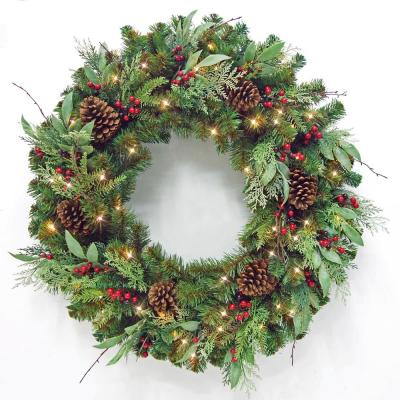 36 in Woodmoore Battery Operated Mixed Pine LED Pre-Lit Artificial Wreath with Timer