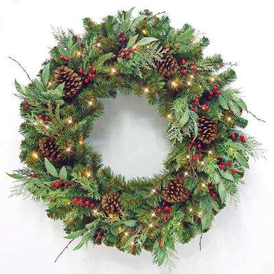 Non Christmas Winter Wreaths.36 In Pre Lit Led Artificial Christmas Wreath With Pine Cones And Berries