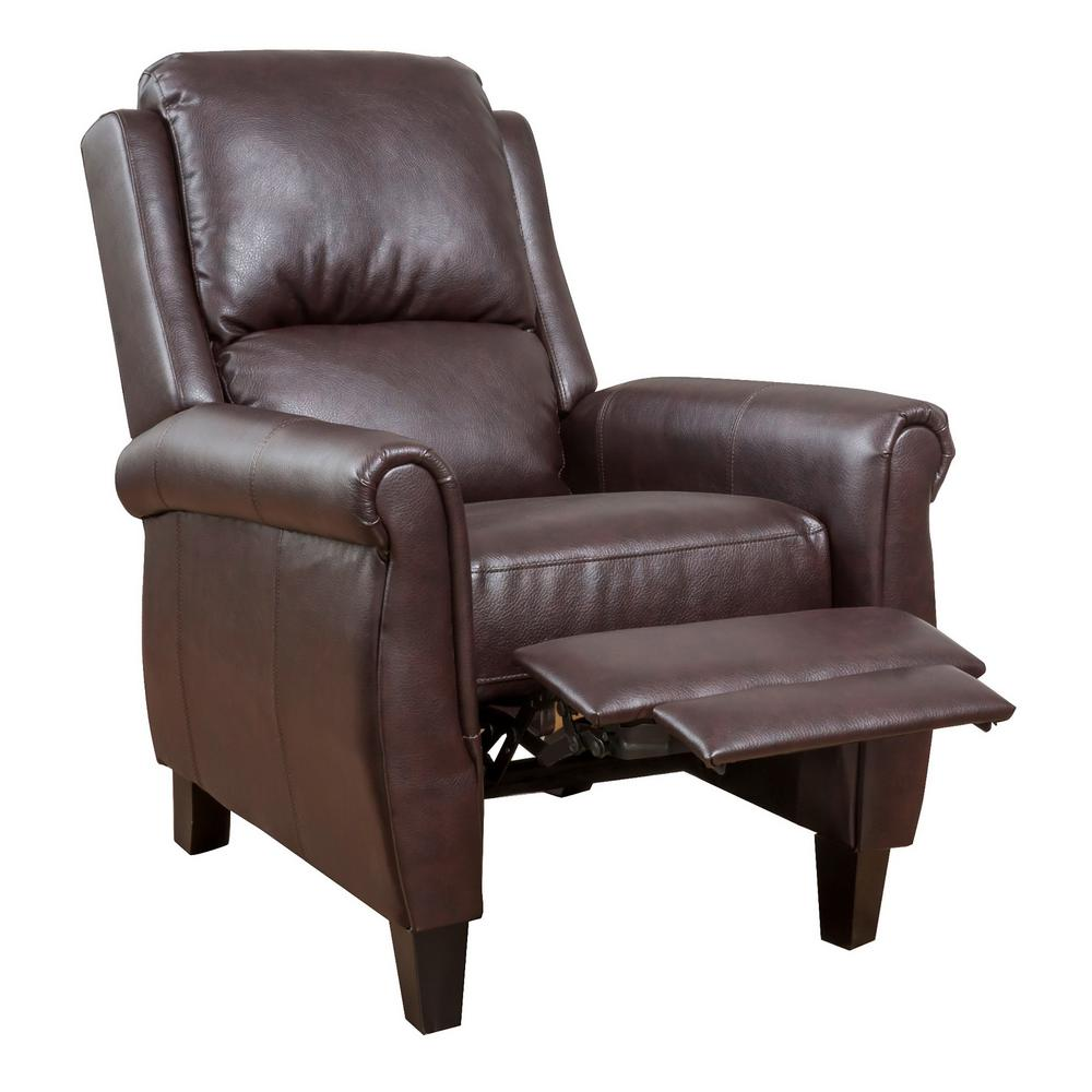 NobleHouse Noble House Haddan Burgundy PU Leather Recliner, Red