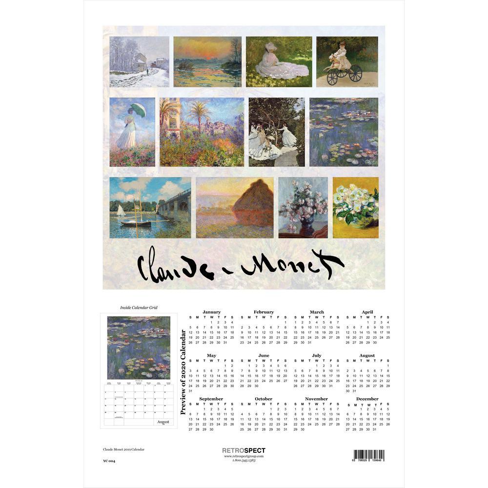 19 in. x 12.5 in. Claude Monet - 2019 Calendar