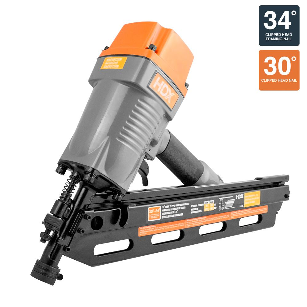 HDX 34° Corded Pneumatic Clipped Head Framing Nailer