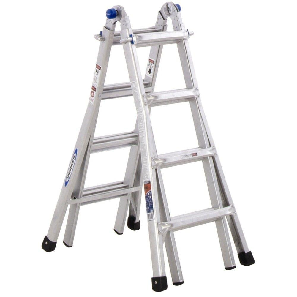 Werner 18 ft. Reach Aluminum Telescoping Multi-Position Ladder with ...