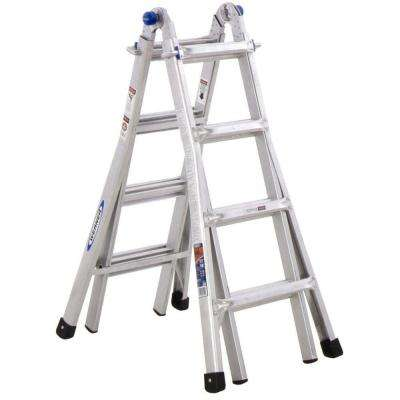 18 ft. Reach Aluminum Telescoping Multi-Position Ladder with 300 lbs. Load Capacity Type IA Duty Rating
