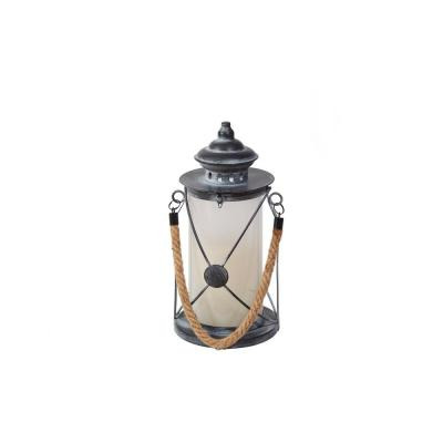Walden 12 in. Distressed Pewter LED Candle Lantern with Dancing Flame