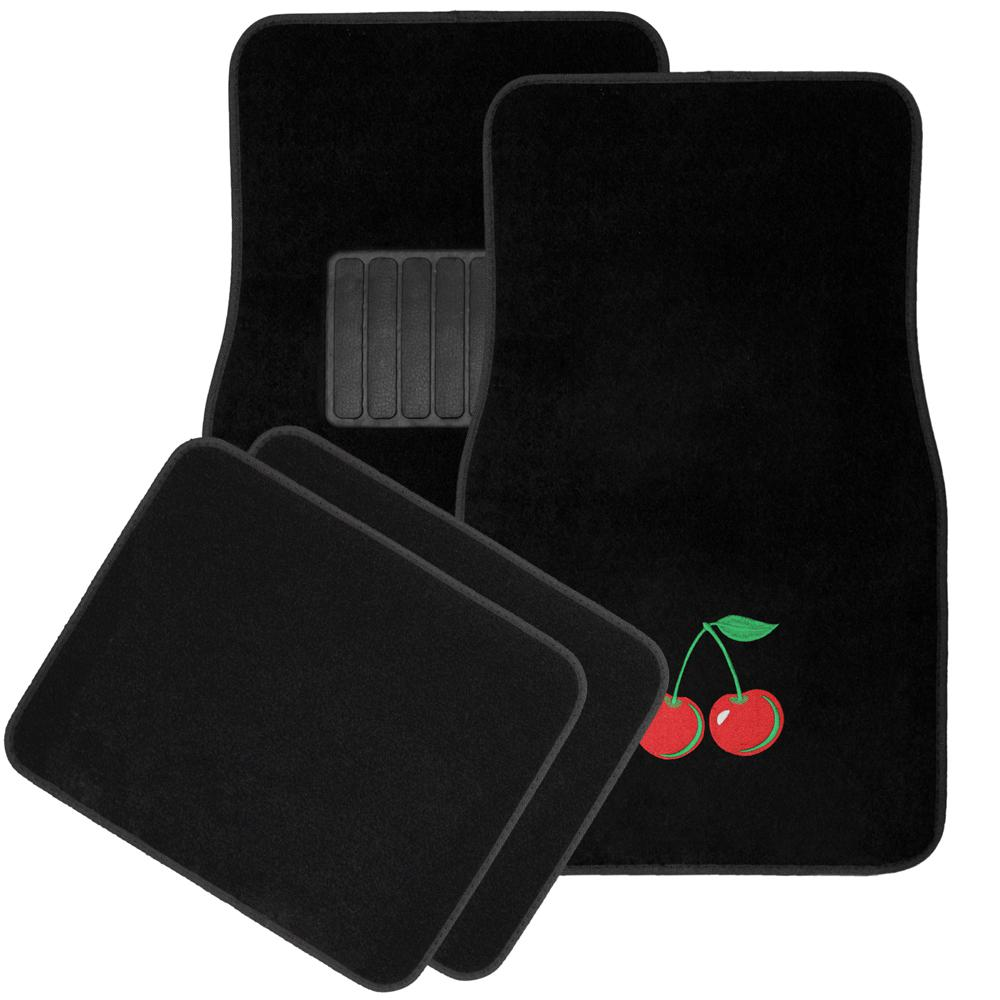 Cherry Embroidered 4-Piece Heavy-Duty 26.5 in. x 17.5 in. Rubber Floor