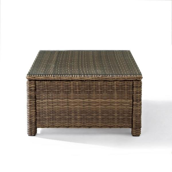 Bradenton Wicker Sectional Glass Top Outdoor Coffee Table