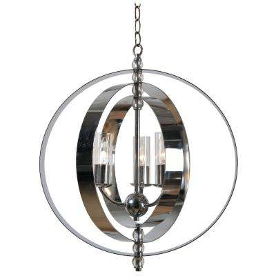 Jaquelyn 3-Light Chrome Chandelier with Clear Glass Shade