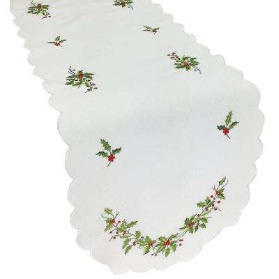 15 in. x 54 in. Mistletoe Embroidered Table Runner