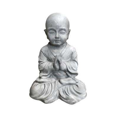 16.5 in. Tall Natural Concrete Lightweight Sitting Praying Monk Outdoor Sculpture