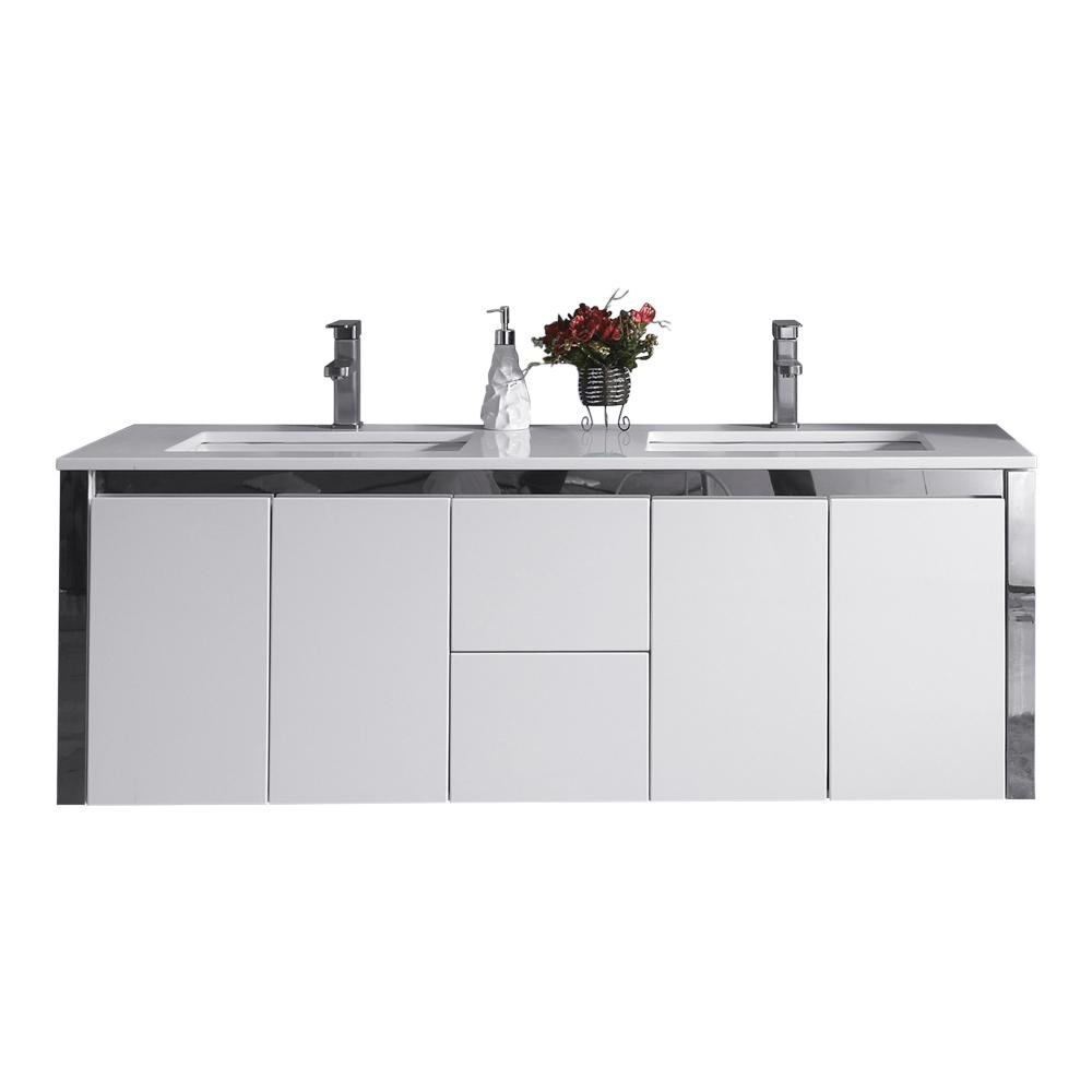 OVE Decors Lelio 59 in. W x 18.1 in. D Wall Hung Vanity in White with Resin Vanity Top in White with White Basin