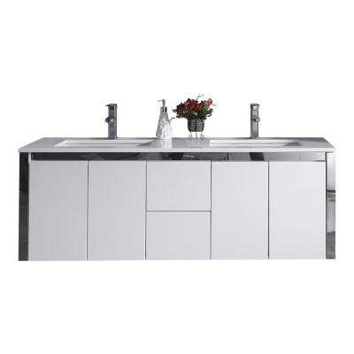 Lelio 59 in. W x 18.1 in. D Wall Hung Vanity in White with Resin Vanity Top in White with White Basin