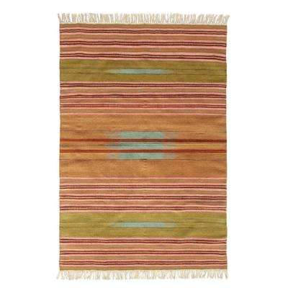 Multicolor 4 ft. x 6 ft. Striped Kilim Area Rug with Fringe
