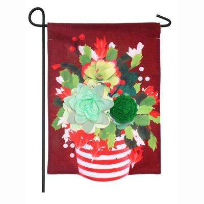 18 in. x 12.5 in. Holiday Succulents Garden Burlap Flag