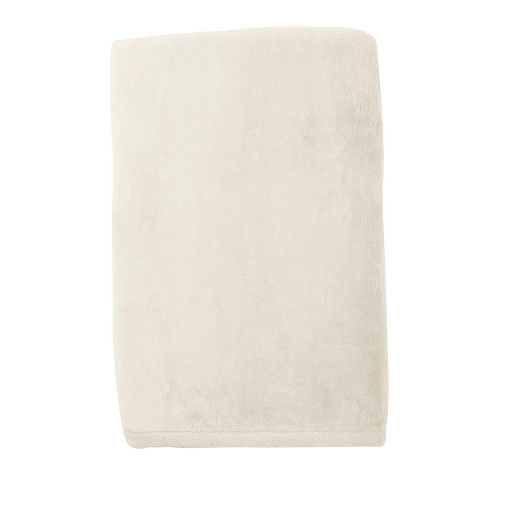 Cotton Fleece Ivory Twin Woven Blanket