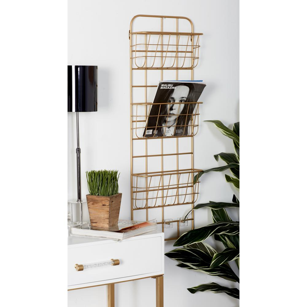 Gold Iron 3-Tiered Wall-Mounted Basket Rack with Hooks