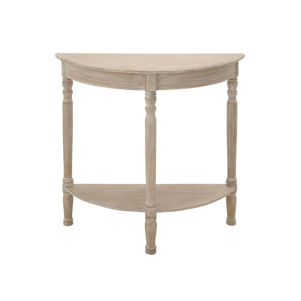 Charmant Litton Lane Whitewashed Taupe Half Round Wooden Console Table