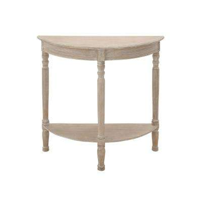 Whitewashed Taupe Half Round Wooden Console Table