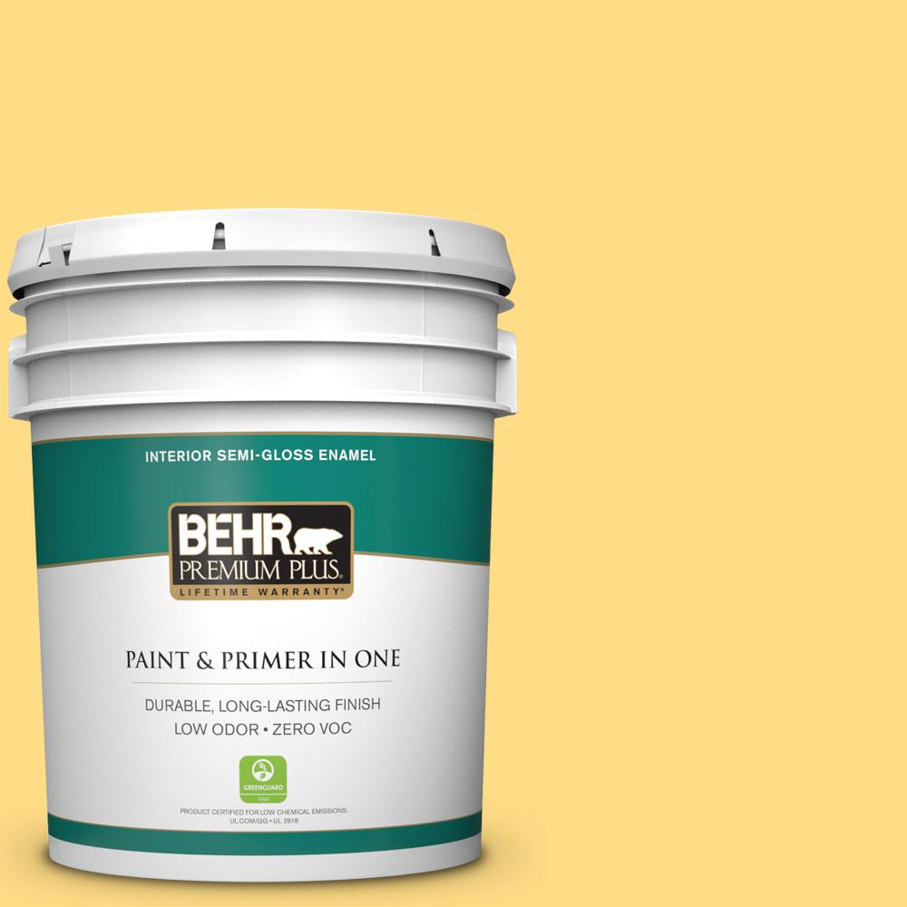 BEHR Premium Plus 5-gal. #340B-5 Yellow Brick Road Zero VOC Semi-Gloss Enamel Interior Paint