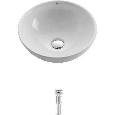 Soft Round Ceramic Vessel Bathroom Sink in White with Pop Up Drain in Chrome