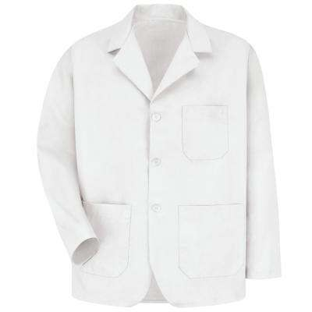 Men's Size XS White Lapel Counter Coat