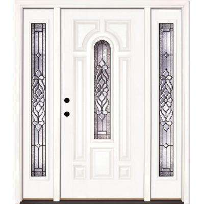 59.5 in.x81.625in.Lakewood Patina Center Arch Lt Unfinished Smooth Right-Hand Fiberglass Prehung Front Door w/ Sidelites