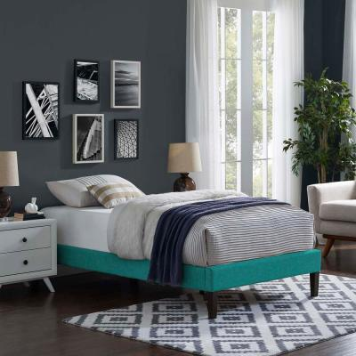 Tessie Teal Twin Upholstered Fabric Bed Frame with Squared Tapered Legs