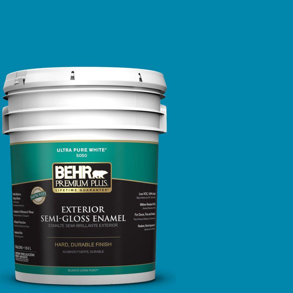 BEHR Premium Plus 5-gal. #P490-6 Hacienda Blue Semi-Gloss Enamel Exterior Paint