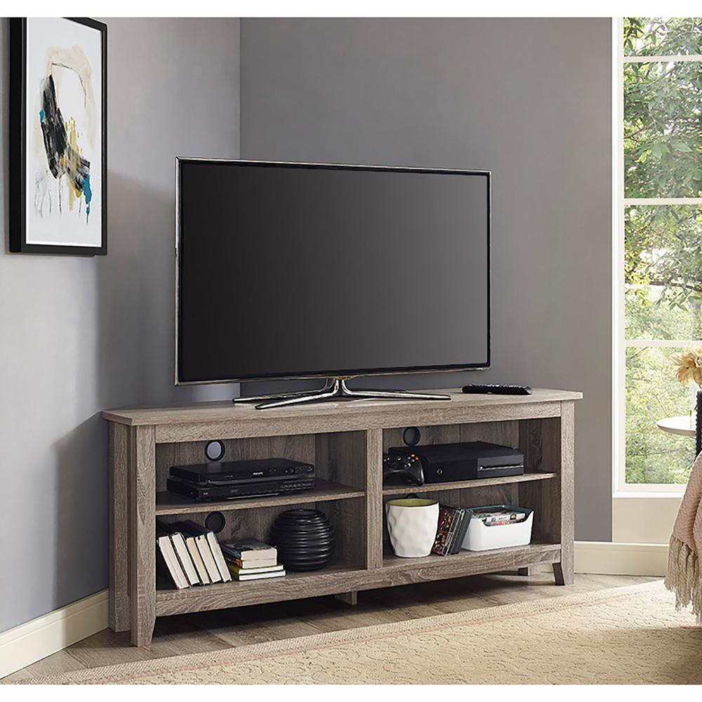 Great Walker Edison Furniture Company Essentials Driftwood Storage Entertainment  Center W58CCRAG   The Home Depot