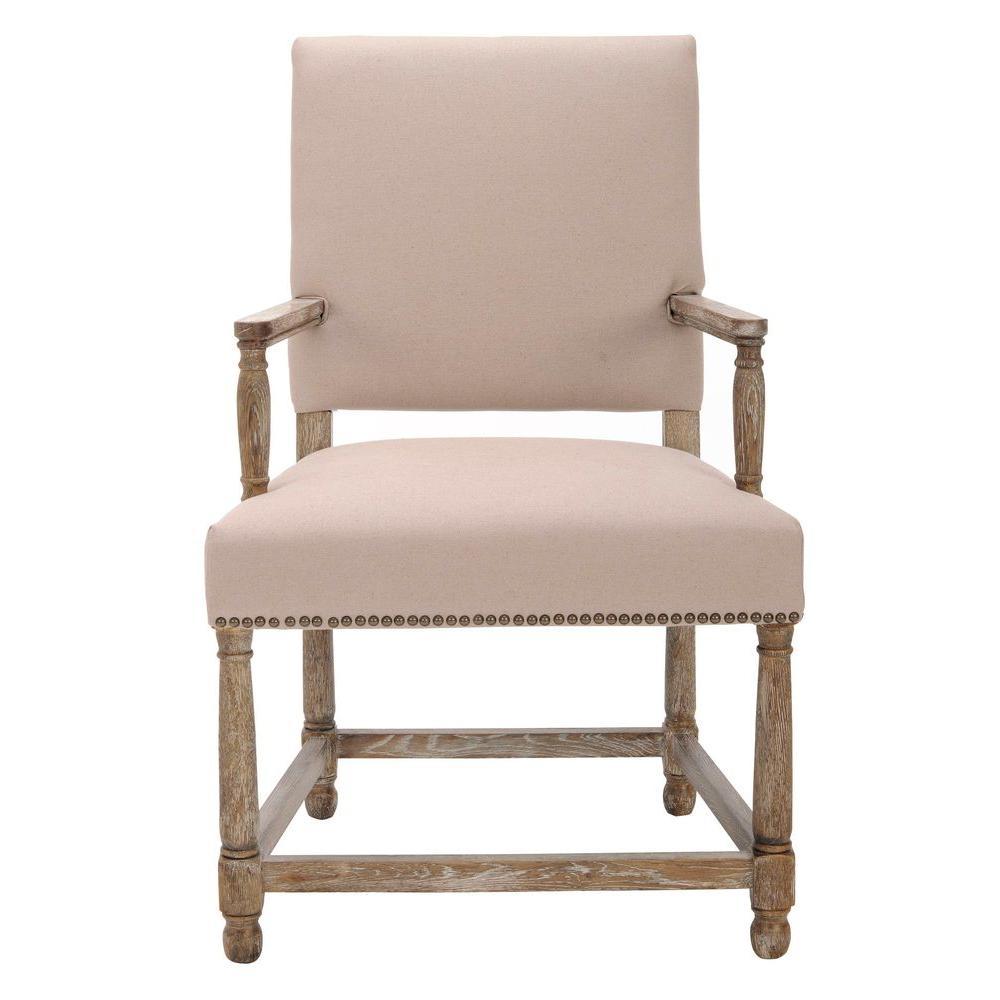 Safavieh Faxon Taupe/Pickled Oak Finish Linen Arm Chair