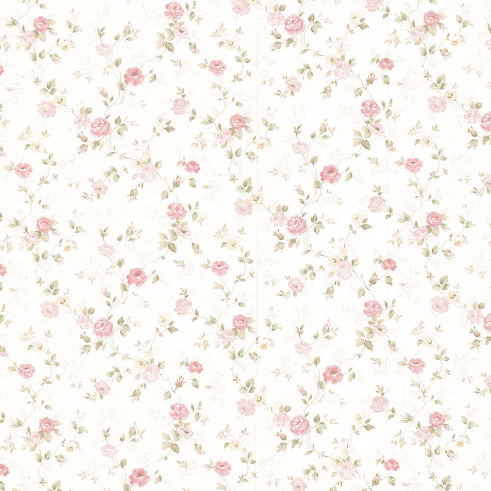 Alex Pink Delicate Satin Floral Trail Wallpaper