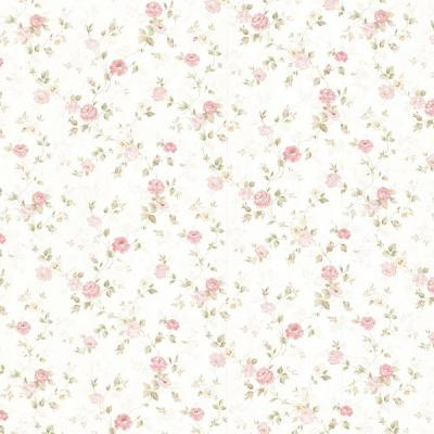Alex Pink Delicate Satin Floral Trail Wallpaper Sample