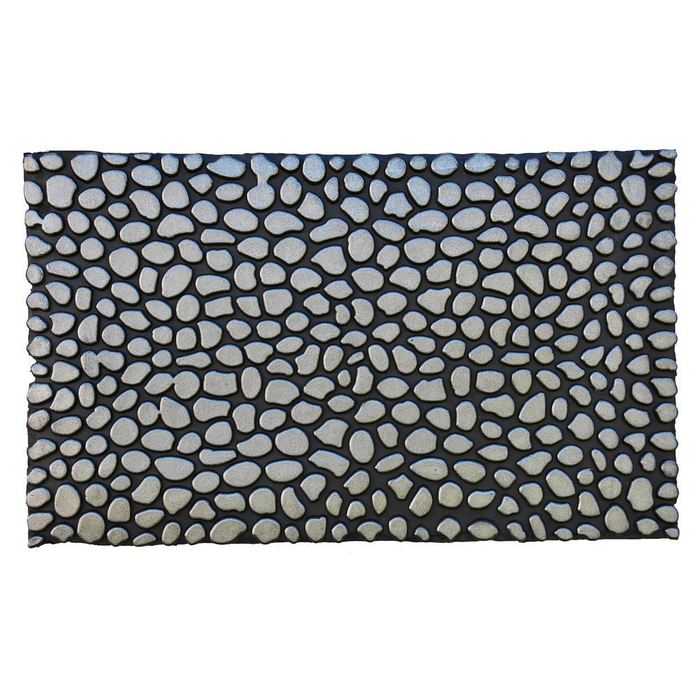 Pebbles Silver Rubber Door Mat 18 in. x 30 in.