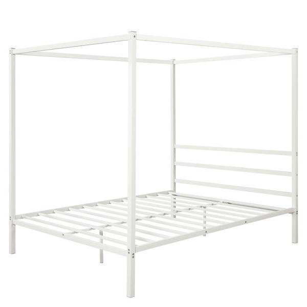White Metal Framed Queen Canopy Platform Bed with Built-in Headboard No Box Spring Needed Classic Design