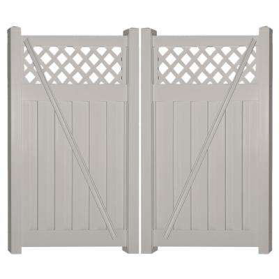 Clearwater 8 ft. W x 5 ft. H Tan Vinyl Privacy Double Fence Gate