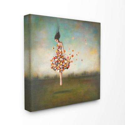 """17 in. x 17 in. """"Surreal Dress Made of Flowers in an Abstract Landscape Painting"""" by Duy Huynh Canvas Wall Art"""