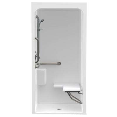 Accessible Acrylic 36 in  x 36 in  x 80 4 in  1-Piece ANSI Shower Stall  with Right Seat, Shelf, and Grab Bar in White