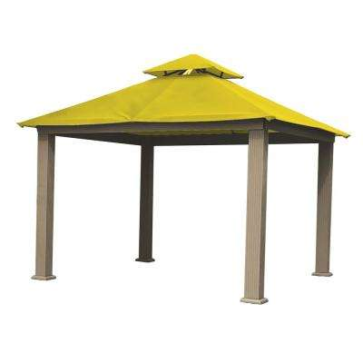 12 ft. x 12 ft. ACACIA Aluminum Gazebo with Yellow Canopy
