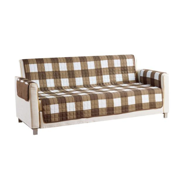 QuickFit Alba Water Resistant Taupe-Chocolate Fit Polyester Fit Sofa Slip Cover