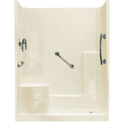 32 in. x 60 in. x 77 in. Freedom Low Threshold 3-Piece Shower Kit in Biscuit with Chrome Package, Left Seat, Right Drain
