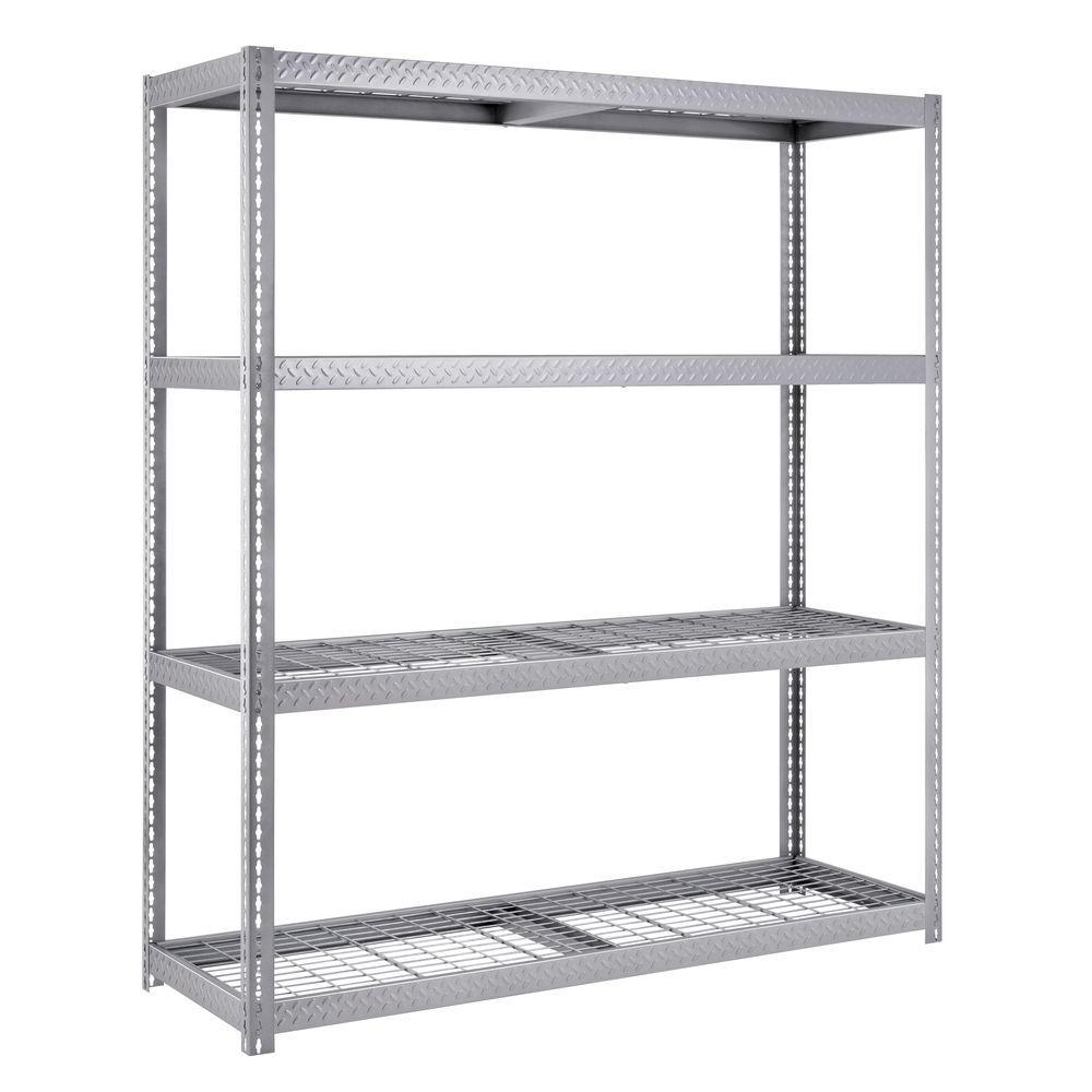 84 in. H x 72 in. W x 24 in. D 4-Shelf Steel Commercial Shelving Unit in Silver
