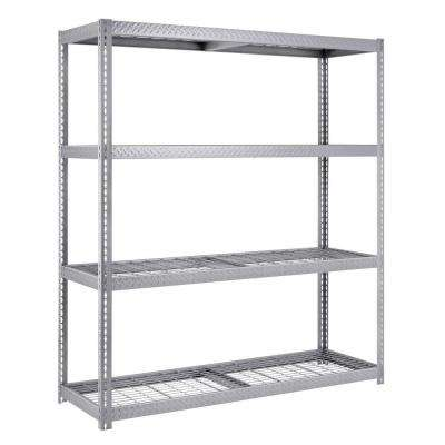 84 in. H x 72 in. W x 24 in. D 4-Shelf Steel Commercial Shelving Unit in Silver