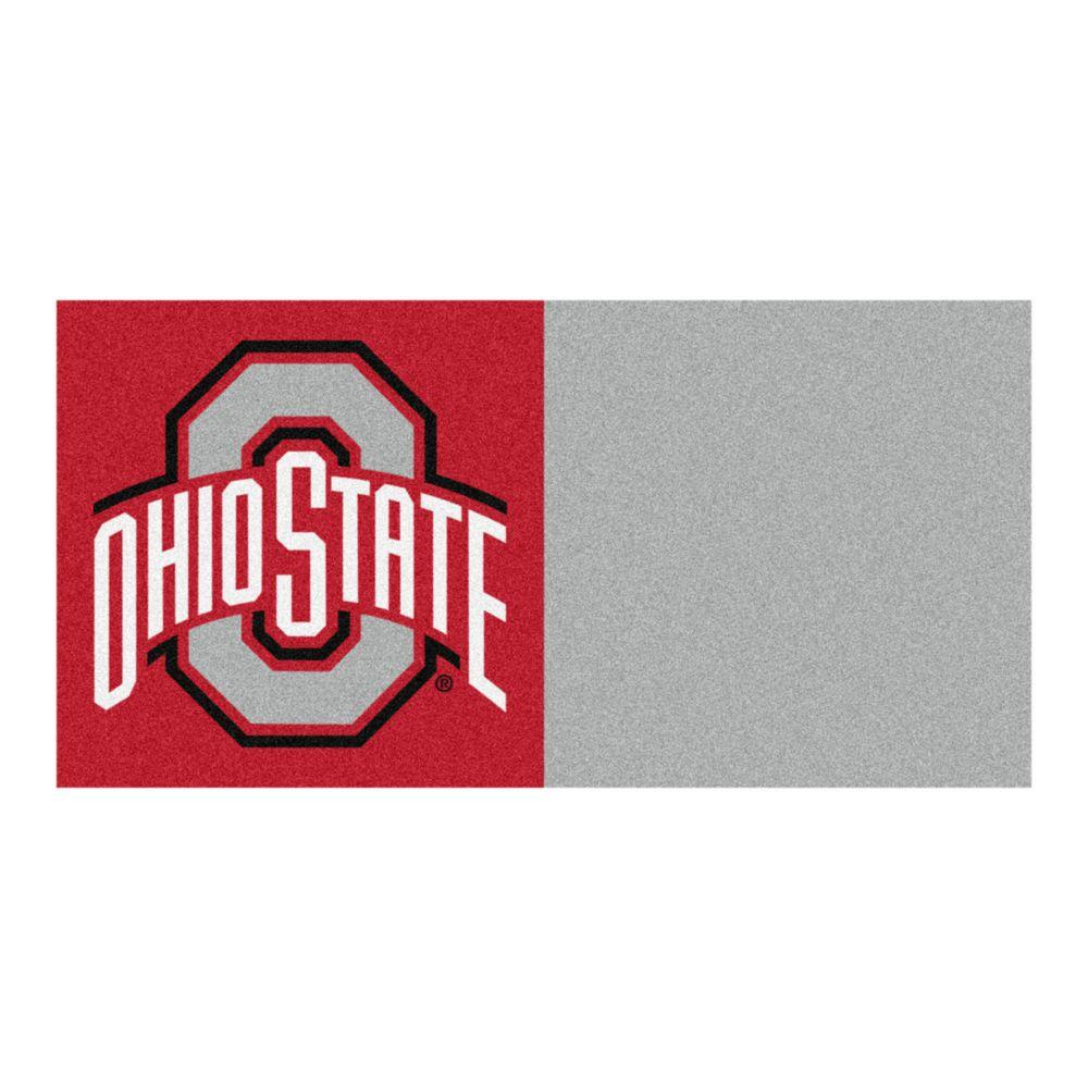 FANMATS NCAA - Ohio State University Gray and Red Nylon 18 in. x 18 in. Carpet Tile (20 Tiles/Case)