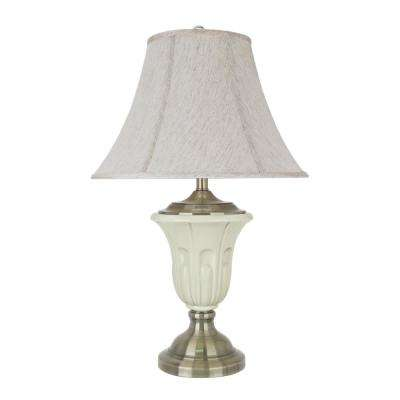28-1/2 in. Ivory Porcelain Table Lamp with Antique Brass Finish Base and Bell Shaped Lamp Shade in Off White